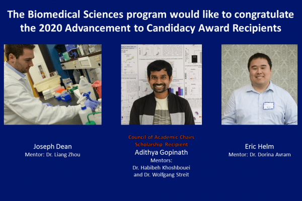 The Biomedical Sciences program would like to congratulate the 2020 Advancement to Candidacy Award Recipients - Joseph Dean, Mentor: Dr. Liang Zhou - Eric Helm, Mentor: Dr. Dorina Avram - Adithya Gopinath, Mentors:  Dr. Habibeh Khoshbouei and Dr. Wolfgang Streit (Council of Academic Chairs Scholarship Recipient)