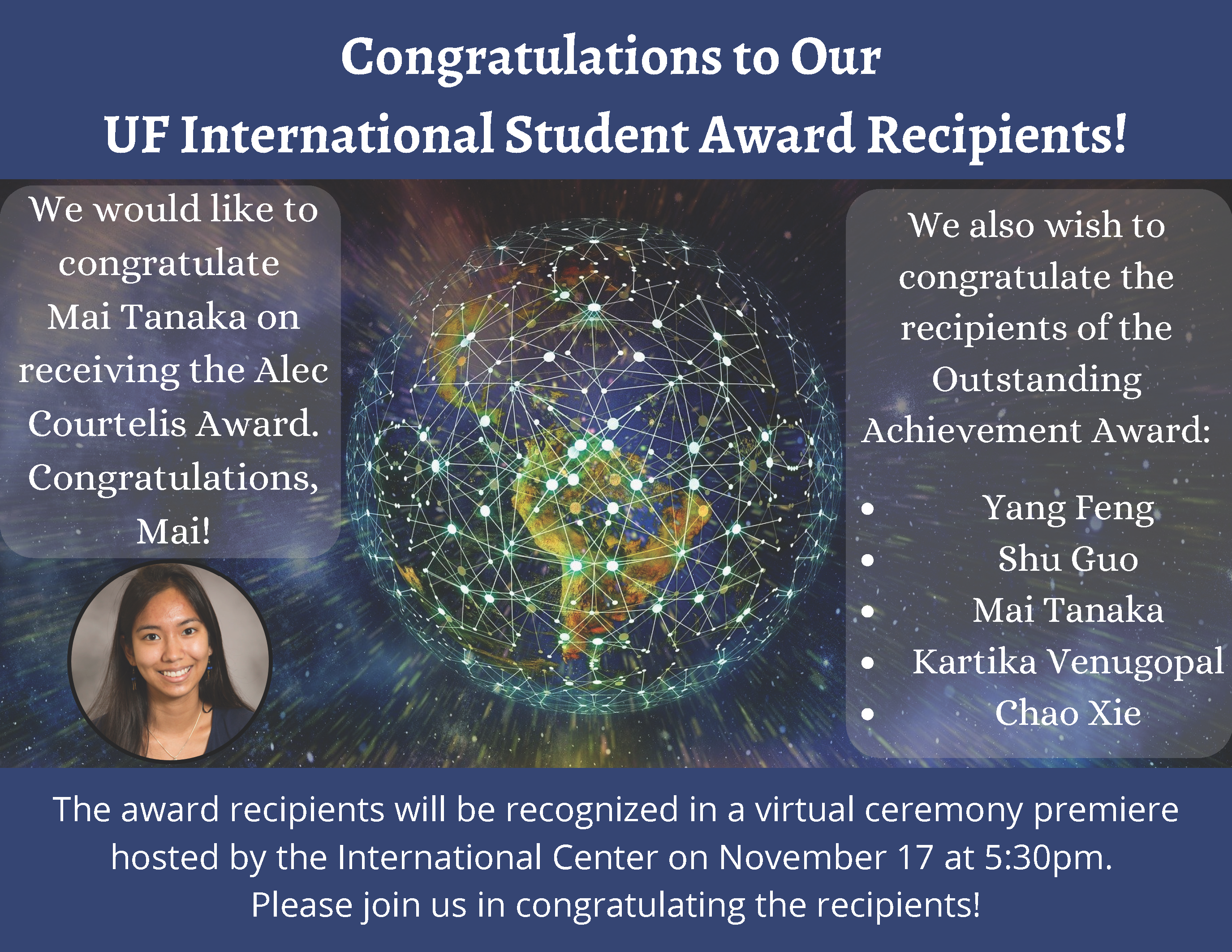 Congratulations to Our UF International Student Award Recipients!